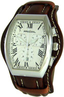 PREDIAL Tonneau Chronograph Herrenuhr Quarz poliert weiß Lederband braun