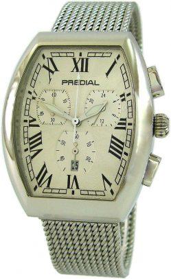 PREDIAL Tonneau Herrenuhr Quarz Chronograph mit Edelstahl Milanaiseband silber