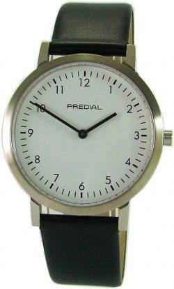 PREDIAL dezent Herrenuhr Quarz Edelstahl Saphirglas weiß Lederband schwarz 38mm