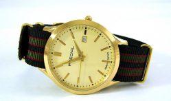 PREDIAL elegante Automatic Herren Armbanduhr Textilband grün gold schwarz