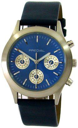 PREDIAL unisex Armbanduhr Quarz Chronograph feines Lederband blau silber 38mm