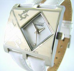 Riedenschild Ornamentel Quarz Damen Armbanduhr Edelstahl Leder weiß mit Diamant