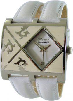 Riedenschild Ornamentel Quarz Damenuhr doppeltes Lederband weiß Diamant