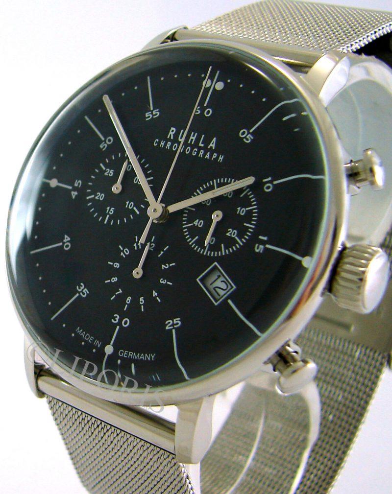 Ruhla Chronograph Herrenuhr Edelstahl Milanaiseband Stil Bauhaus schwarz 42mm