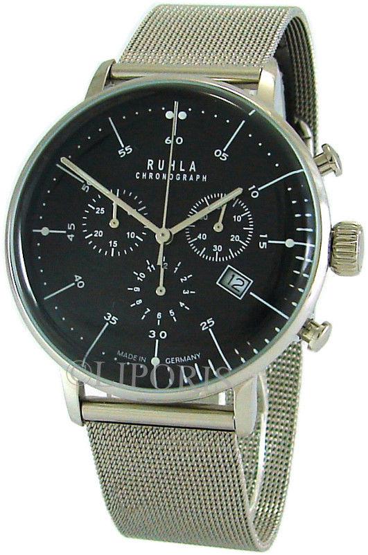 Ruhla Herren Chronograph Edelstahl Milanaiseband Bauhaus Stil schwarz 42mm