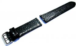 Uhrenarmband Perl Roche Leder Uhrband schwarz watch strap stingray leather 22mm