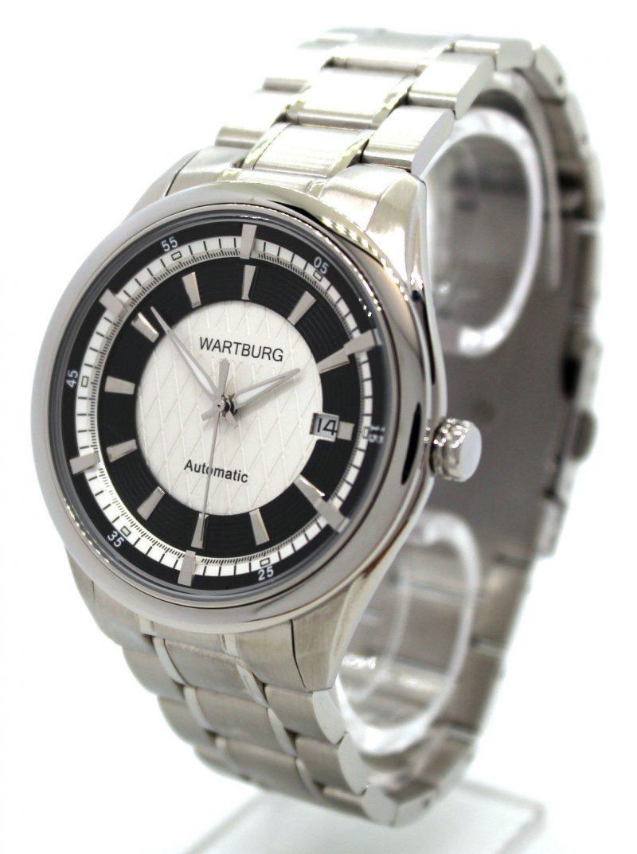 Wartburg Automatic Herrenuhr Datum Edelstahl Uhrband weiß schwarz 43mm