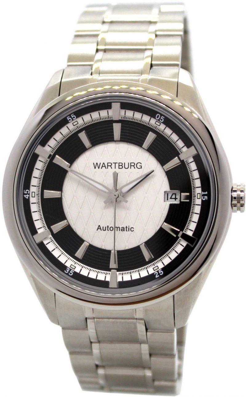 Wartburg Herrenuhr Automatic Edelstahl Band Datum weiß schwarz Miyota 9015 43 mm