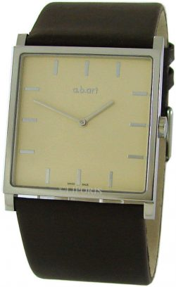 a.b.art swiss made Herrenuhr Quarz XL Carre design Lederband braun EL 104