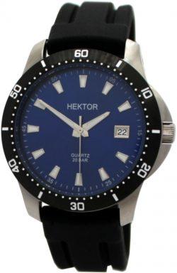 HEKTOR 20BAR Sport Herrenuhr blau Edelstahl Silikonband schwarz geschützte Krone