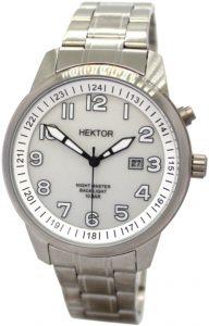 HEKTOR Ansitzuhr Herren Quarz Uhrband Edelstahl Datum Hintergrundlicht 10bar