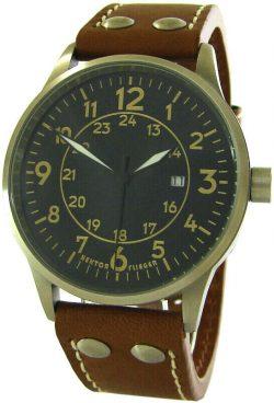HEKTOR Germany Flieger Herrenuhr Quarz analog Edelstahl Uhrband Leder braun 42mm