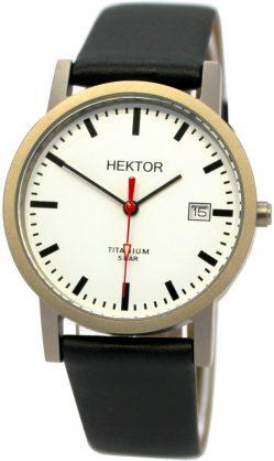 HEKTOR Germany Unisex Bahnhofsuhr Quarz Titan weiß Lederband schwarz 5ATM 35mm