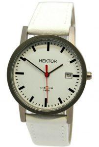 HEKTOR Germany unisex Bahnhofsuhr Quarz Titan Lederband weiß 5ATM 35mm