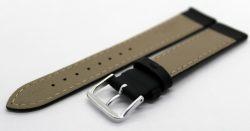 Herren Uhrenarmband Kalbsleder schwarz seidenmatt Futterleder beige Anstoß 18mm