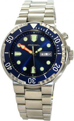 PREDIAL-100BAR-Herren-Quarz-Taucheruhr-Uhrband-Edelststahl-Heliumventil-Lünette