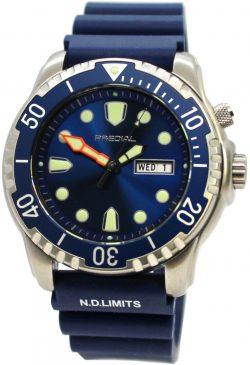 PREDIAL 100BAR Herren Taucheruhr Quarz Silikon Uhrband blau Heliumventil Lünette