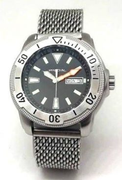 PREDIAL 50BAR Herren Taucheruhr Quarz Edelststahl Milanaise Uhrband Tag Datum