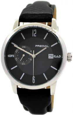 PREDIAL Automatic Herrenuhr Stahl Uhrenarmband weiches Hirschleder schwarz