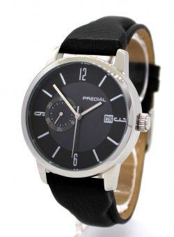 PREDIAL Herrenuhr Automatic Edelstahl silber Hirschleder Uhrband schwarz