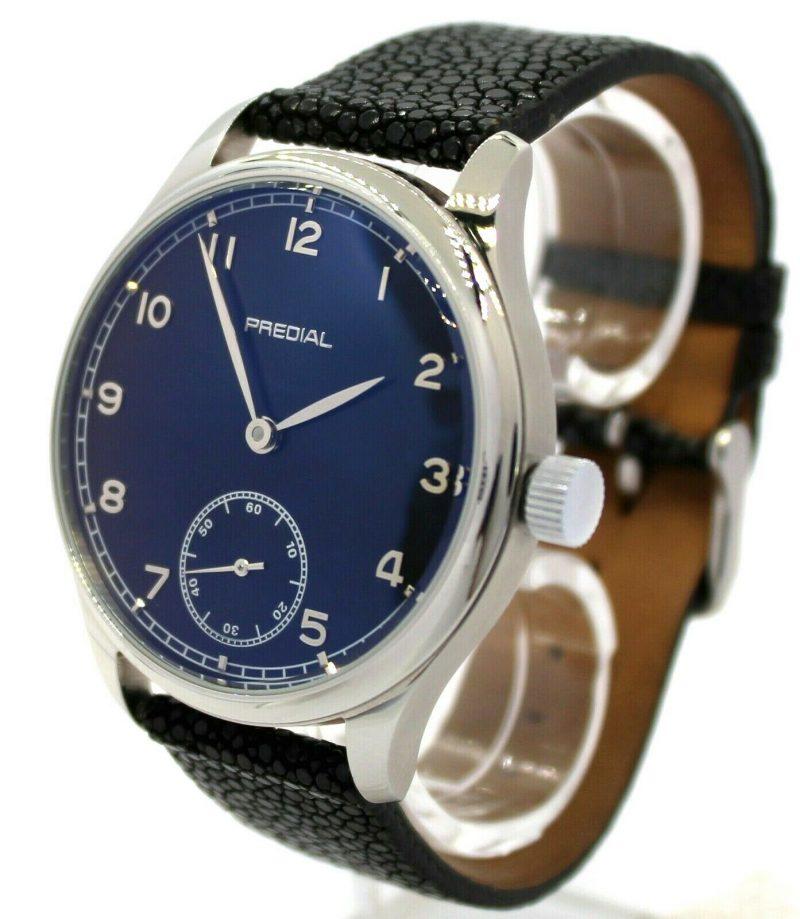 PREDIAL Mechanik Herrenuhr Handaufzug GeMatic 17Steine Perlrochen Uhrband 44mm