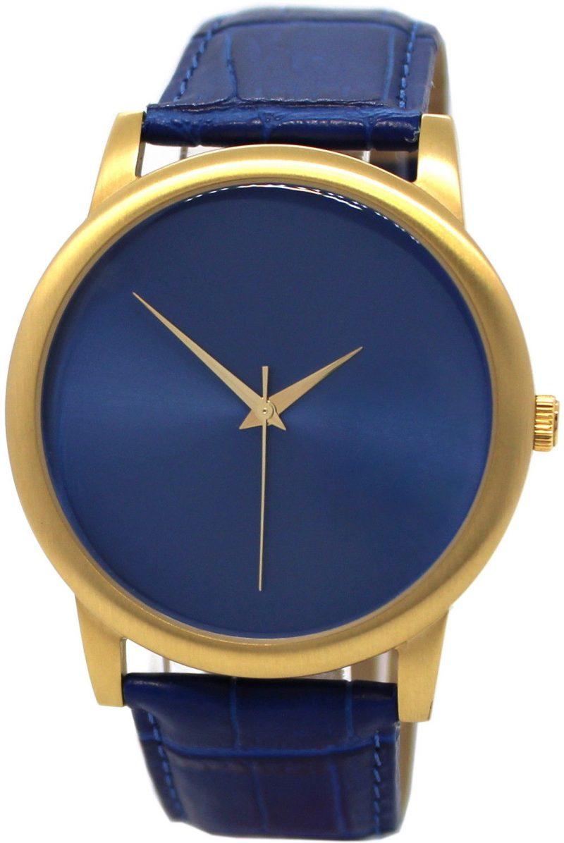 PREDIAL elegante Herren Quarzuhr analog Edelstahl gold IP Lederband blau 42mm