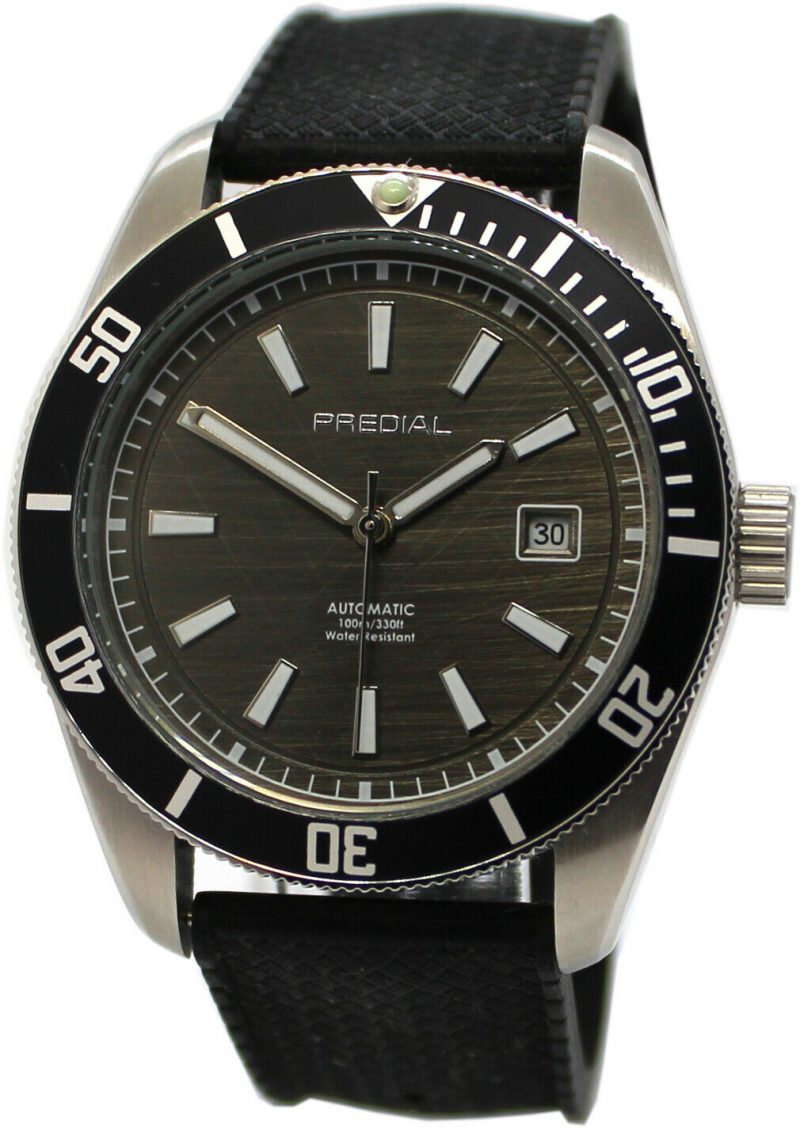 PREDIAL Automatic Sport Herrenuhr Lünette Edelstahl Silikon Uhrband 10ATM 42mm