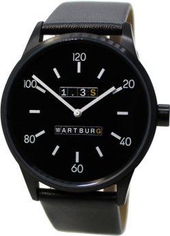 Wartburg Herrenuhr 1.3S Edelstahl schwarz Lederband Made in Germany 42mm
