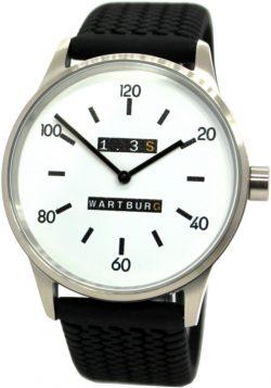 Wartburg Herrenuhr 1.3S Edelstahl weiß schwarz Uhrband Reifenprofil Germany 42mm
