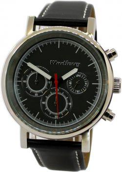 Wartburg Herrenuhr Quarz Chronograph Edelstahl poliert Lederband schwarz