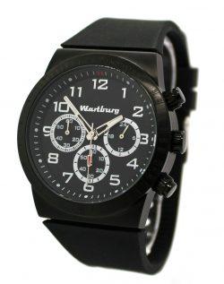 Wartburg Herrenuhr Quarz Chronograph Edelstahl schwarz Silikonband Tachymeter