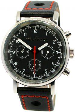 Wartburg RS Chronograph Herrenuhr Quarz Stahl poliert Rallye Lederband schwarz