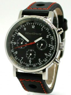 Wartburg RS Herrenuhr Quarz Chronograph Stahl 41mm Rallye Leder Uhrband schwarz