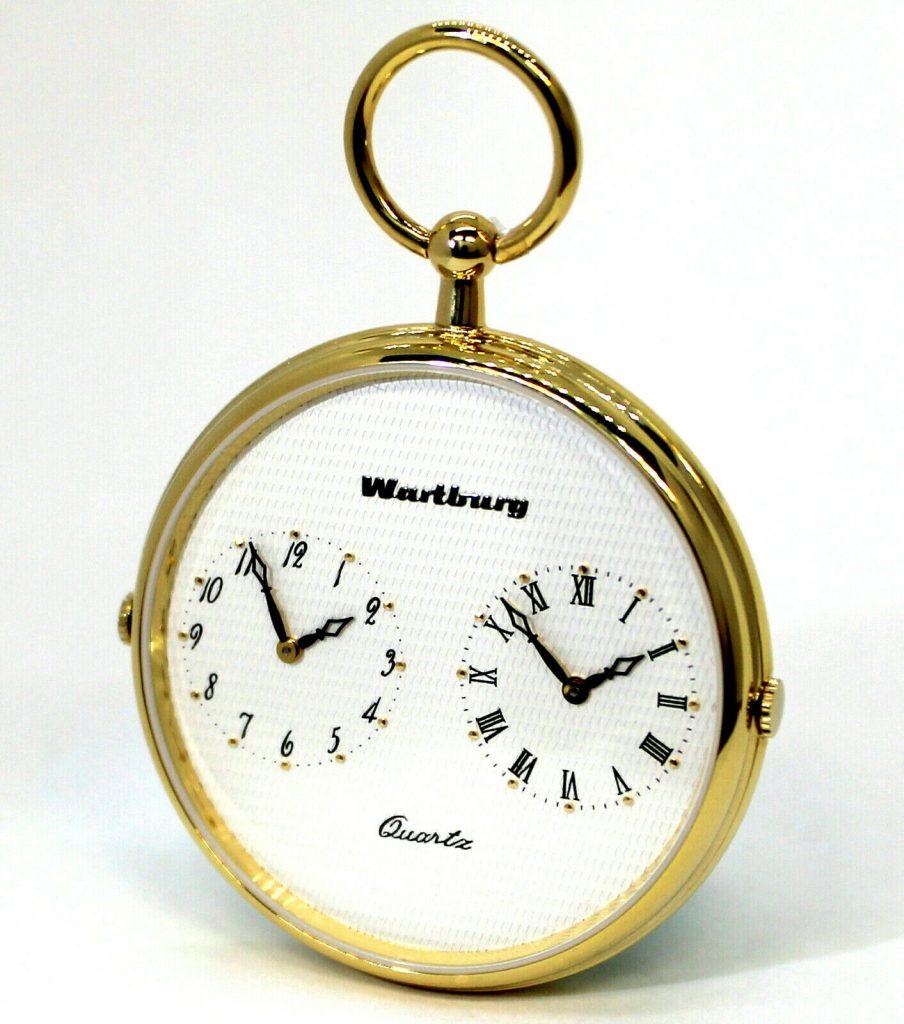 Wartburg Klassik 477 Herren Taschenuhr Dualtime Lepine goldfarben weiß 47mm