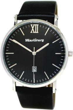 Wartburg Quarz Herrenuhr mit Datum Edelstahl poliert Uhrband Leder schwarz 40mm