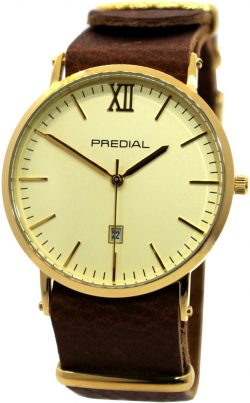 PREDIAL elegante Herrenuhr analog Quarz braun gold Leder Uhrband unisex 40mm