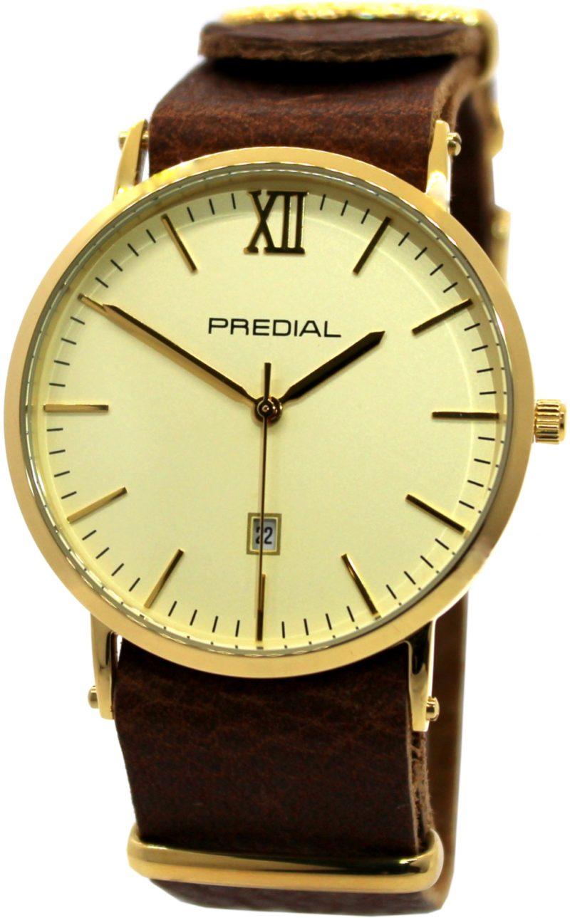 PREDIAL elegante Herrenuhr analog Quarz braun gold Leder Uhrband unisex 40mm