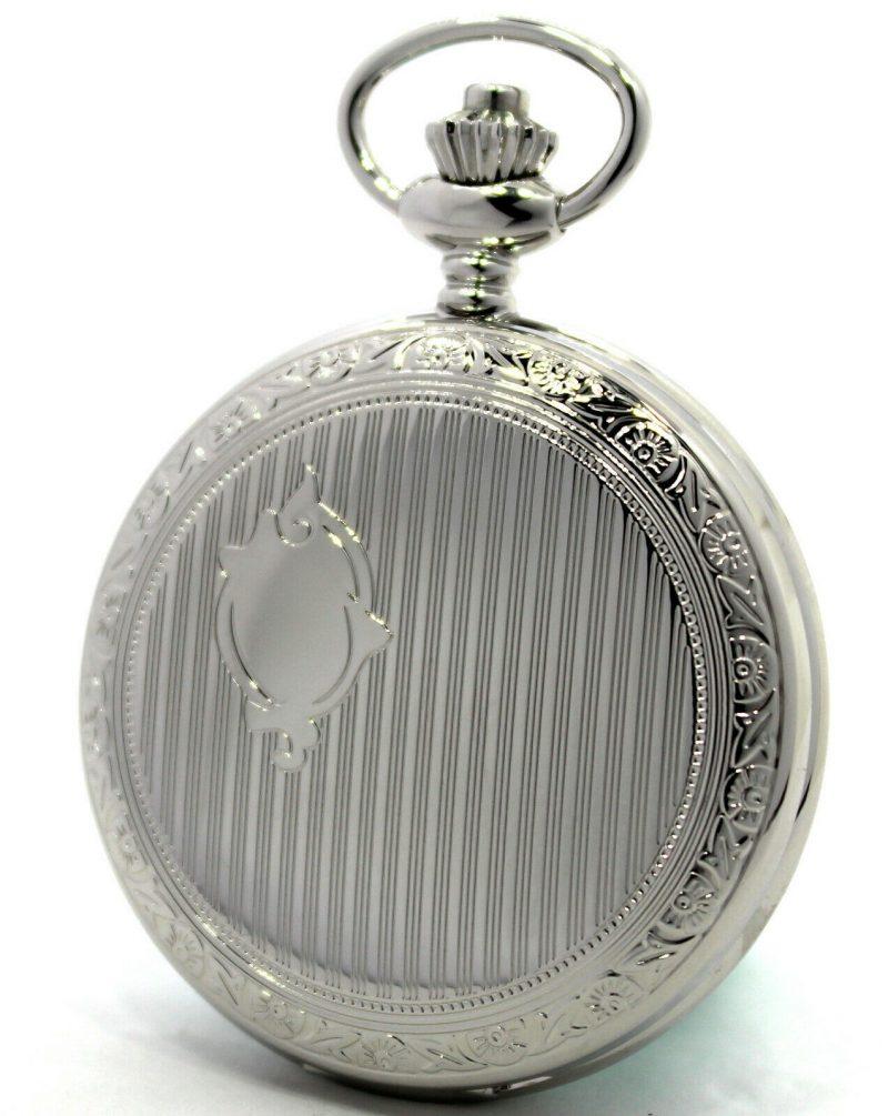 Wartburg Klassik Savonette Sprungdeckel Quarz Taschenuhr für Herren weiß 47mm