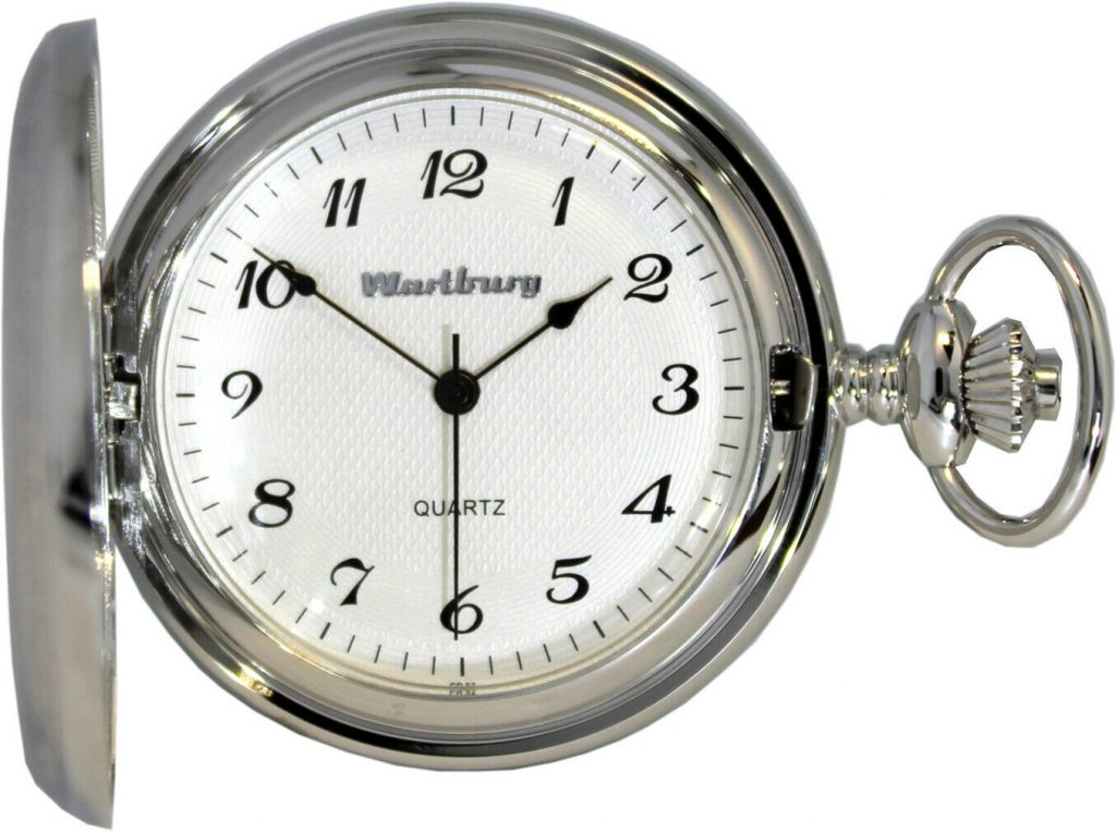 Wartburg Klassik Savonnette Sprungdeckel Quarz Taschenuhr für Herren weiß 47mm