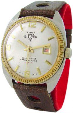 Bitunia mechanische Herrenuhr Lederband braun Datum rot Gehäuse goldfarben