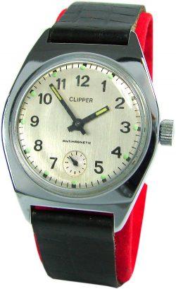 Clipper mechanische Herrenuhr Lederband schwarz silber UMF Kaliber 24