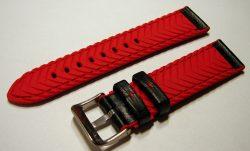 HEKTOR Herren Uhrenarmband Silikon rot Naht Leder schwarz Dornschließe matt lieferbar in 20, 22, 24mm