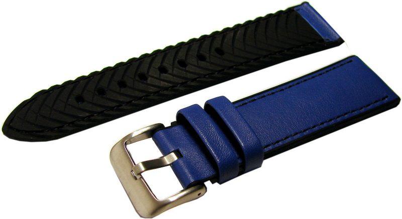 HEKTOR Herren Uhrenarmband Silikon schwarz Leder blau Dornschließe matt lieferbar in 20, 22, 24mm