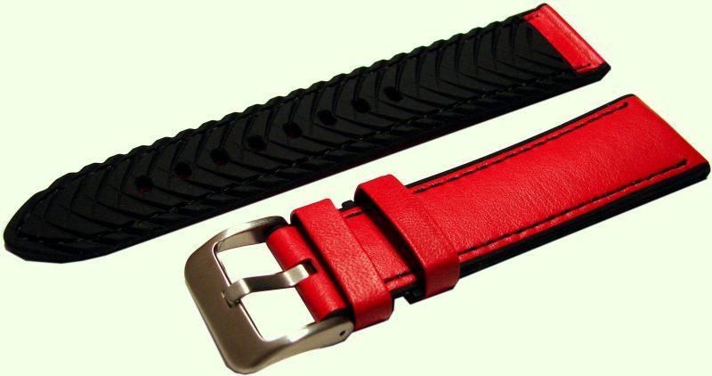 HEKTOR Uhrenband für Herren Leder rot und Silikon schwarz Naht Dornschließe