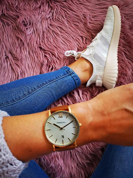 PREDIAL elegante analog Quarz Uhr braun gold Leder Uhrband unisex 40mm
