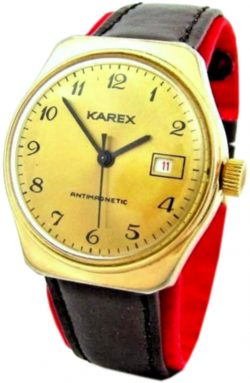 Karex Ruhla Export mechanische Herrenuhr braun gold schwarz Datum UMF Kaliber 24
