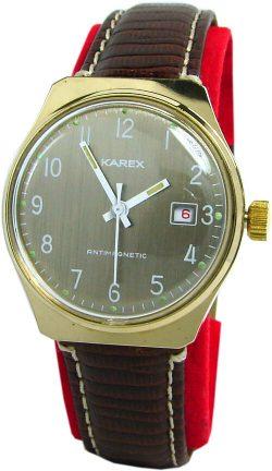 Karex mechanische Herrenuhr Lederband braun gold weiß UMF Kaliber 24