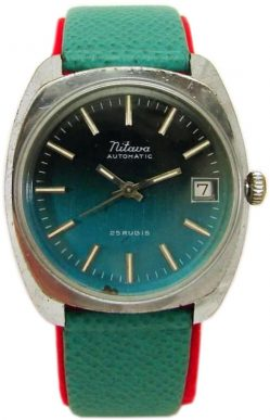 Mitava Automatic Herrenuhr silber Lederband grün Datum 25 Rubis
