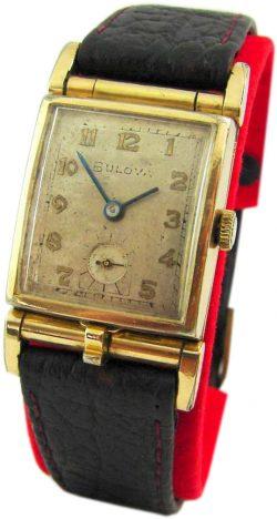 Bulova picture watch Herrenuhr aufklappbar für Foto gebläute Zeiger 17 Jewels