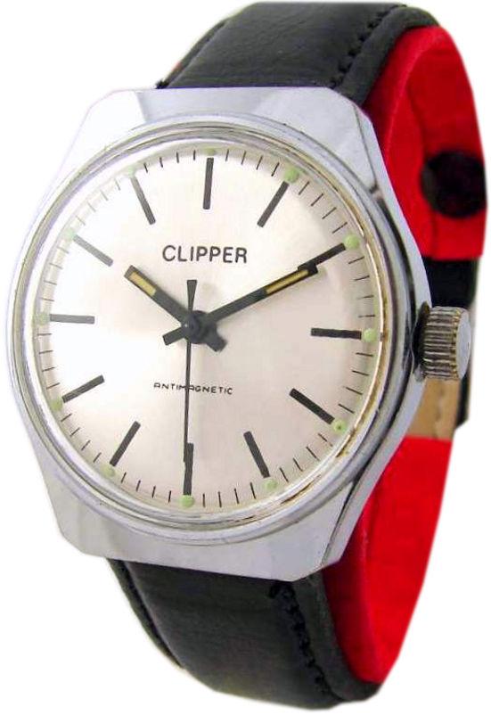 Clipper Handaufzug Herrenuhr Uhrband Leder schwarz silber UMF Kaliber 24